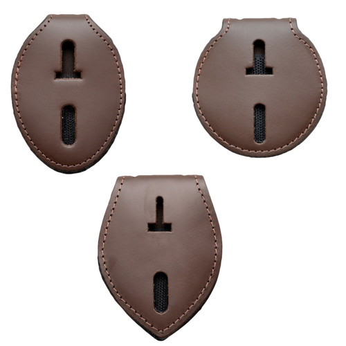 Universal Badge Holder Leather Clip On Belt Neck Hanger w/Chain - Brown Leather
