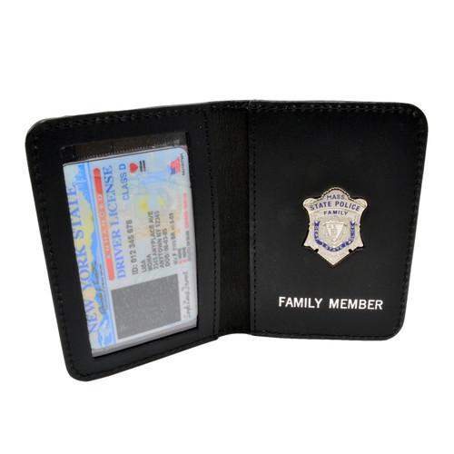 Thin Blue Line Massachusetts State Police Mini Badge Family Member Wallet