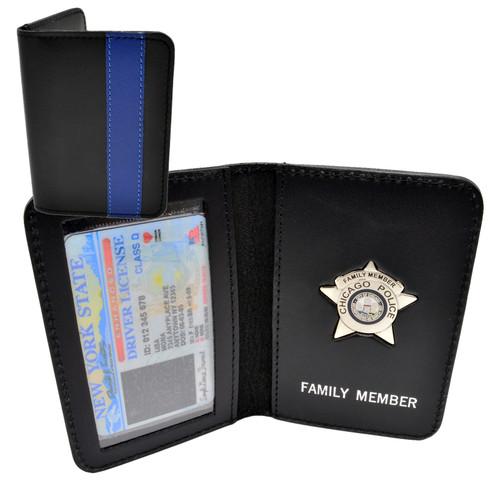 Thin Blue Line Chicago Police Officer Mini Badge Family Member Wallet