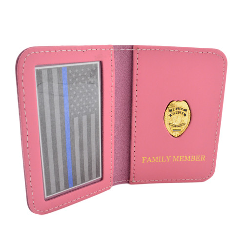 Police Officer Family Member Badge Leather ID Wallet Case - Pink Leather
