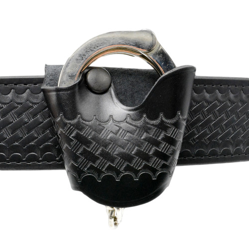 Perfect Fit Basketweave Leather Quick Release Handcuff Case - Standard Size