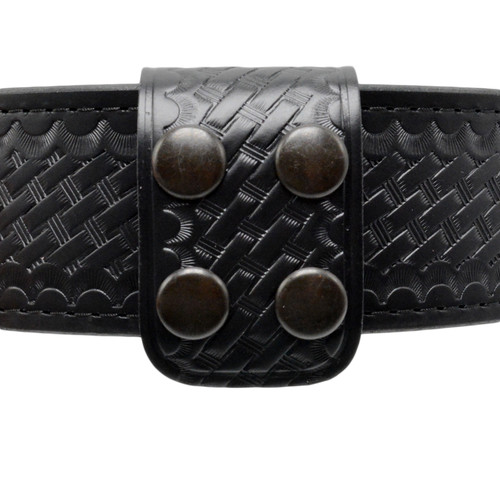 1.75 Inch Double Wide Leather Belt Keeper - Basketweave Finish