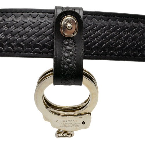 Perfect Fit Basketweave Leather Handcuff Strap with Safety Snap