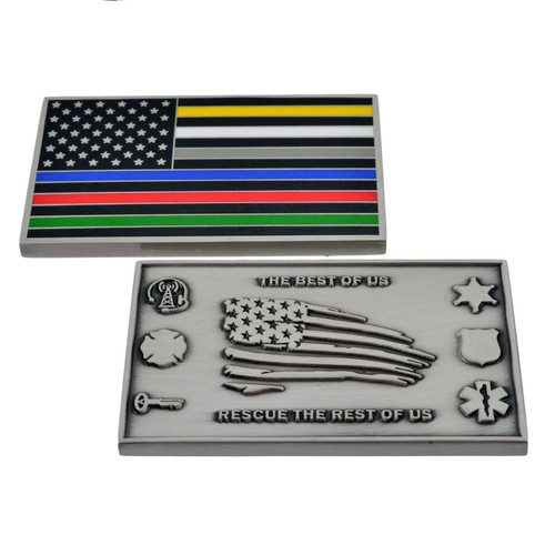 Thin Line Flag Hero Challenge Coin - All Colors