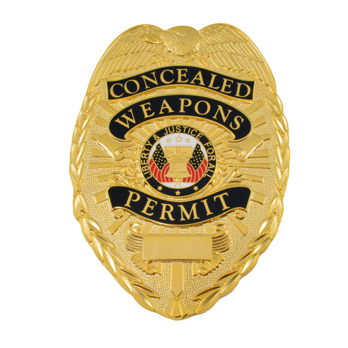 Concealed Weapons Permit Badge - Flat - Slide Clip