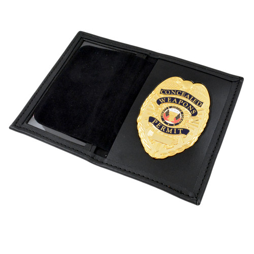 Concealed Weapons Permit Flat Badge and Case Combo