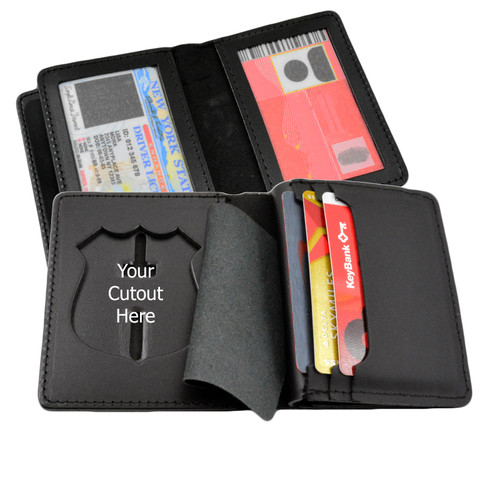 Book Style Badge Case - Double ID - Credit Card Slots - Duty Leather