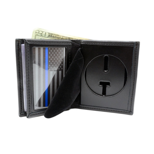 "2.5"" Round Cutout Police Bifold Badge Wallet"