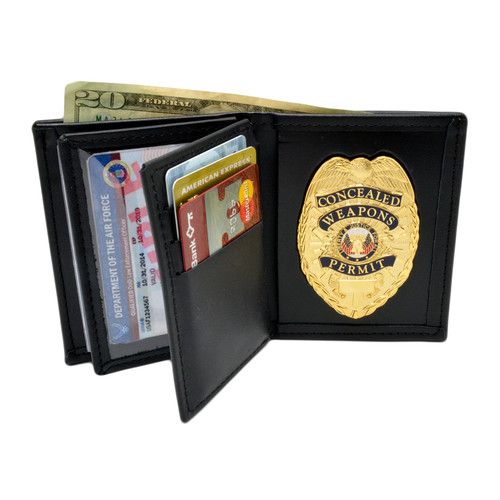 Concealed Weapons Permit Badge and Double ID Wallet Combo