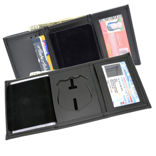 NYPD Officer Tri Fold Black Leather Badge Wallet