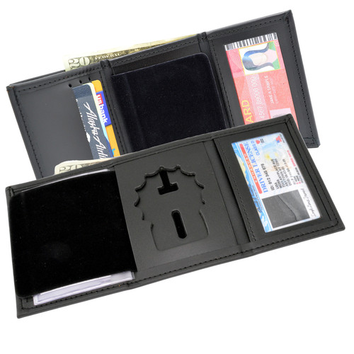 NYPD Detective Tri Fold Black Leather Badge Wallet