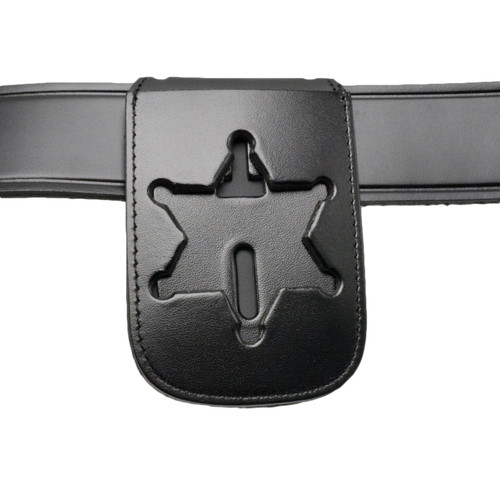 6 Point Star Recessed Badge and ID Neck Holder with Chain