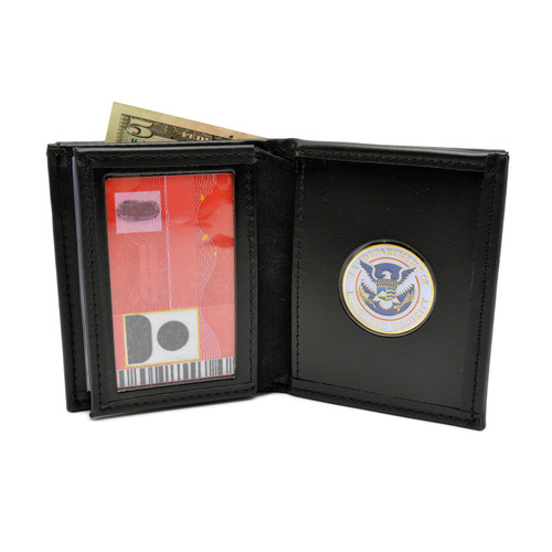 Bifold Leather Wallet with Challenge Coin Pouch