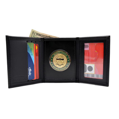 Trifold Leather Wallet with Challenge Coin Holder Window