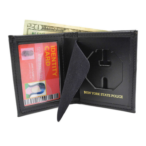 New York State Police Leather Bi-Fold Badge and ID Wallet