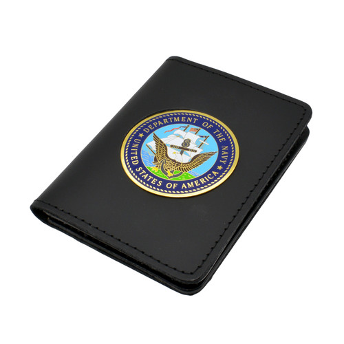 Perfect Fit Double ID Duty Leather ID License Case - U. S. Navy Medallion