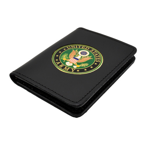 Perfect Fit Double ID Duty Leather ID License Case - U. S. Army Medallion