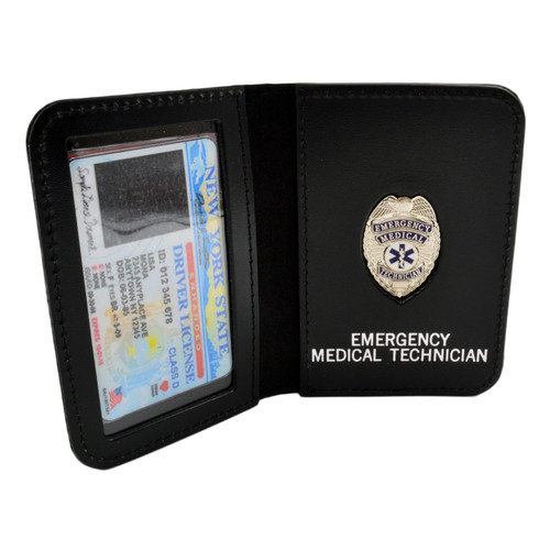 Leather ID Case with EMT Mini Badge