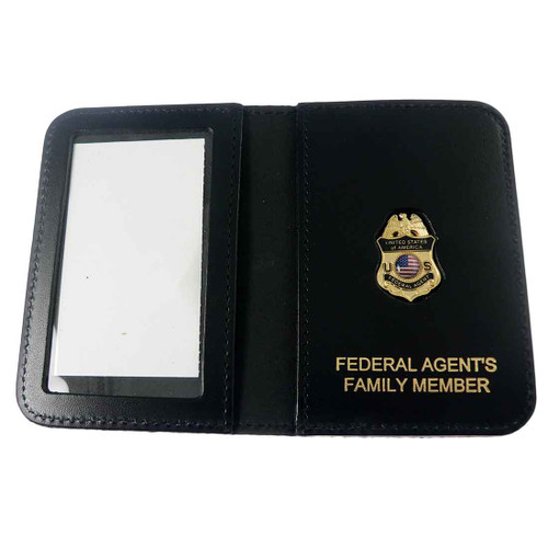 Federal Agent's Family Member Badge Leather ID Wallet Case