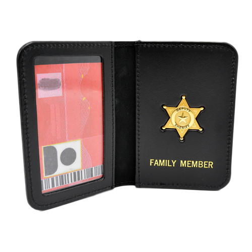 Sheriff's Family Member Badge Leather ID Wallet Case