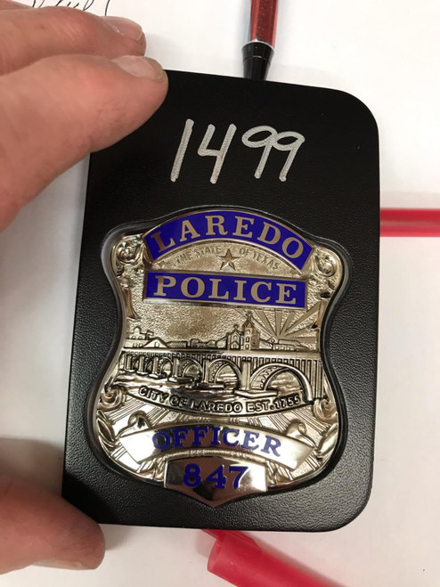 Laredo Texas Police Belt Clip Badge Holder with Pocket and Chain - New Badge