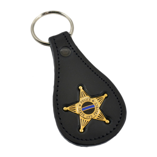 5 Point Star Police Mini Badge Leather Key Ring
