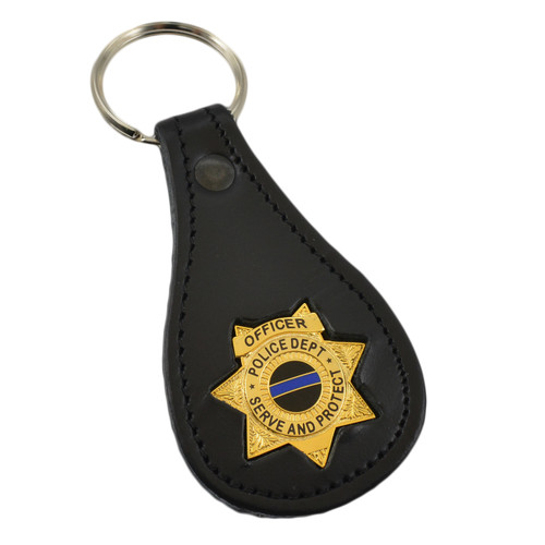 7 Point Star Police Mini Badge Leather Key Ring