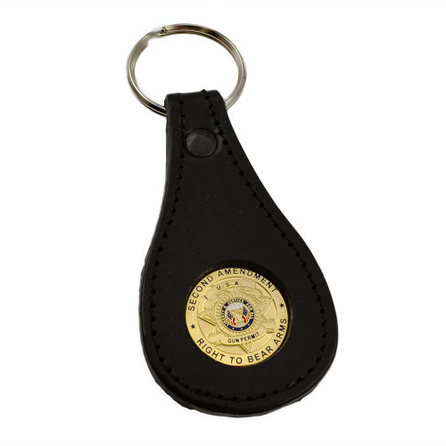 Right to Bear Arms Second Amendment Leather Key Ring