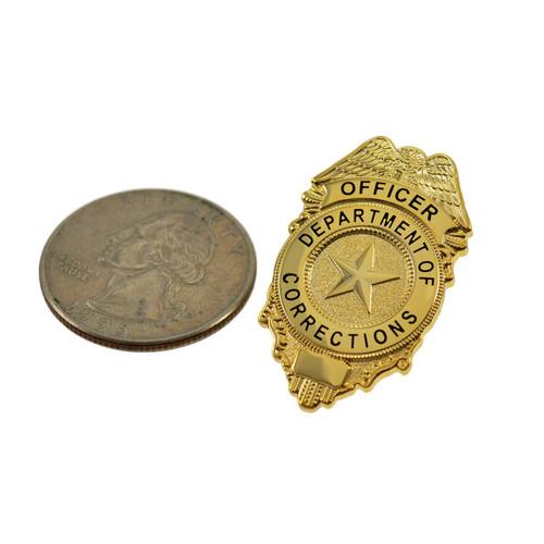 Corrections Officer Mini Badge Lapel Pin Gold