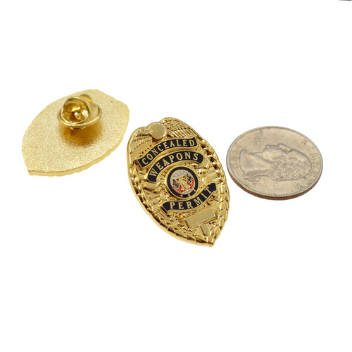 Concealed Weapons Permit Mini Badge Lapel Pin - CWP