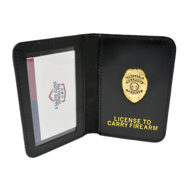 Leather Concealed Carry Permit ID Case