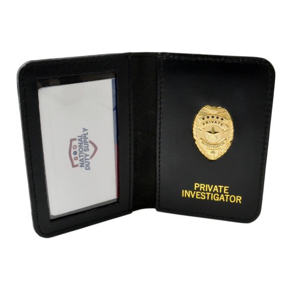 Leather Private Investigator ID Case with Mini Badge