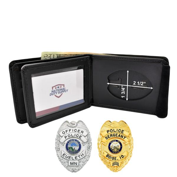 """Cobra Tufskin Police Badge Wallet - 2.5"""" Eagle Top Badges - B957 - S93"""