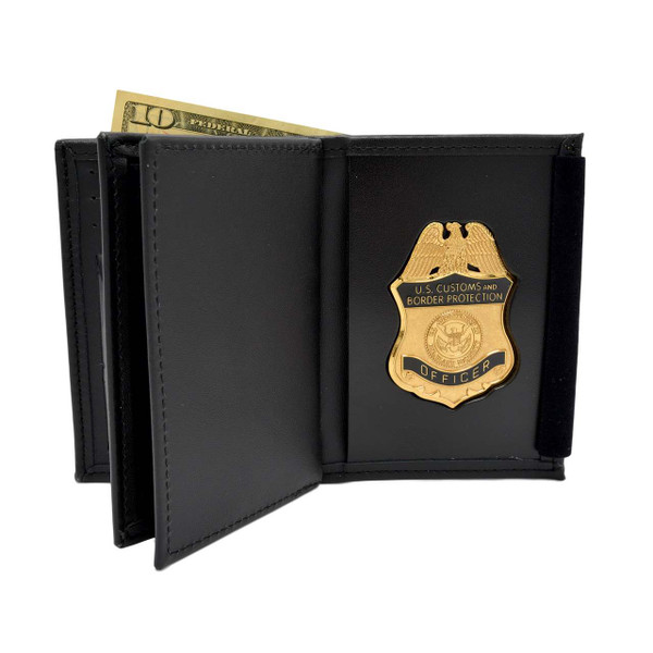 DHS CBP Customs OFO / Border Patrol Badge 2 ID Leather Wallet