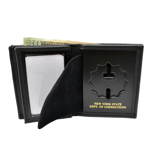 NY New York State Corrections Officer DOC Tri Fold Black Leather Badge Wallet