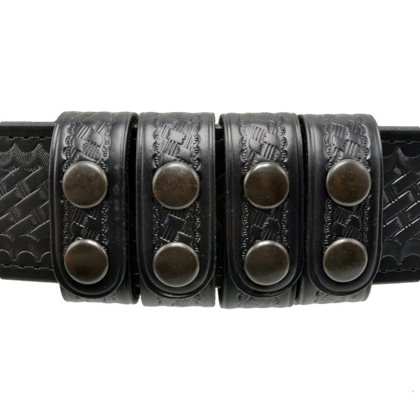 """Perfect Fit Duty Belt Keepers 1"""" Genuine Leather - 4 Pack - Basketweave Finish"""