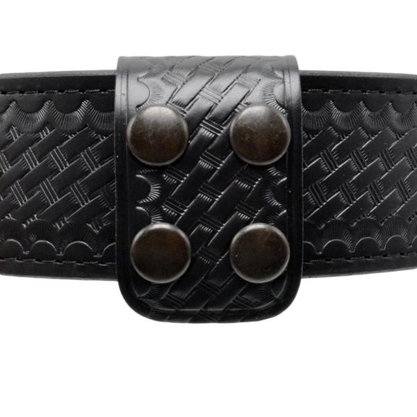 1.75 Inch Double Wide Leather Belt Keeper - Basketweave Finish