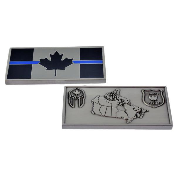 Canada Thin Blue Line Flag Challenge Coin - Spartan - Police