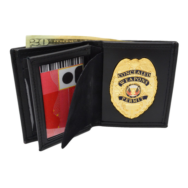 Concealed Weapons Permit Flat Badge & Wallet Combo
