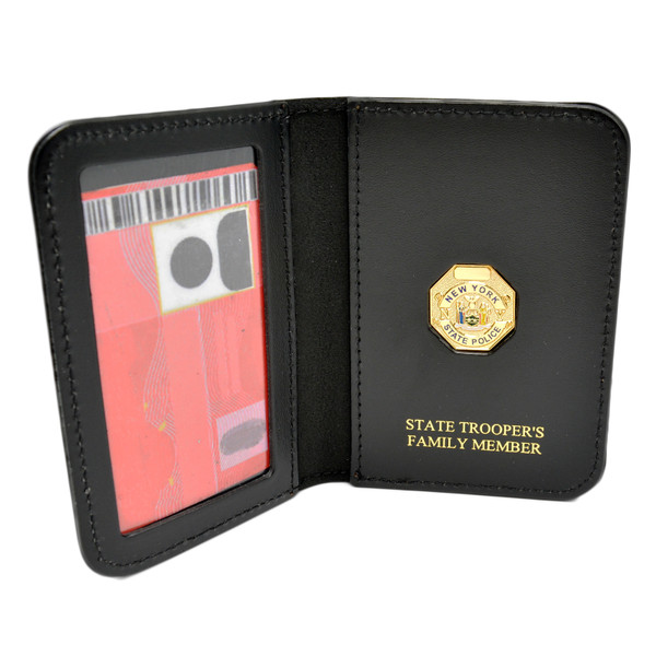 New York State Police Family Member Badge Leather ID Wallet Case