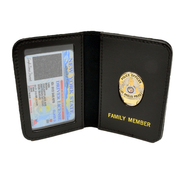 LAPD Los Angeles Police Dept Family Member Badge Leather ID Wallet Case