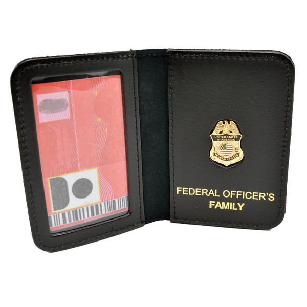Federal Officer's Family Member Badge Leather ID Wallet Case