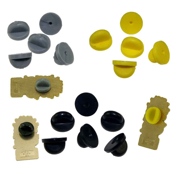 Rubber PVC Pin Clutch Backs -Black - Yellow - Gray