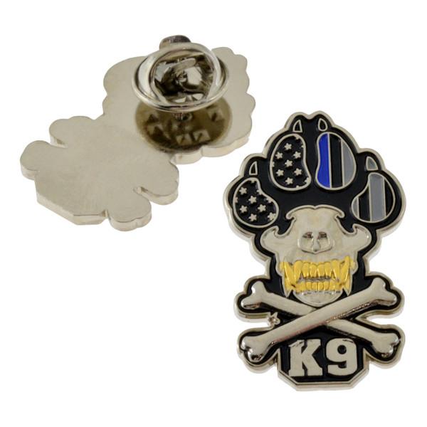 K-9 Handler Skull & Bones Lapel Pin