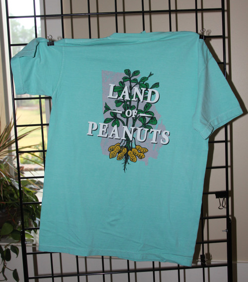 "Georgia Peanuts ""Land of Peanuts"" T-shirt - Chalky Mint Comfort Color"