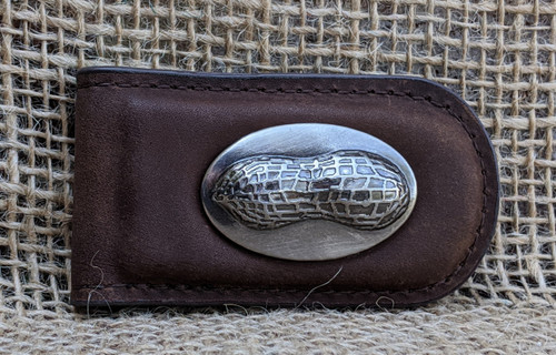 Brown Leather Money Clip - Smooth