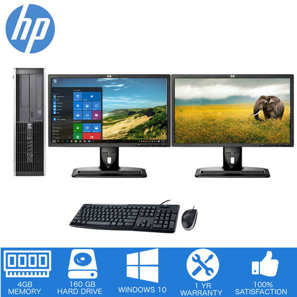 HP Dual LCD Desktop Deal, 4GB Memory with 160GB Hard Drive. Desktop Sale Double Monitors.