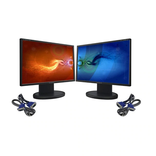 "DUAL 17"" LCD FLAT PANEL REFURBISHED MONITOR SCREEN"