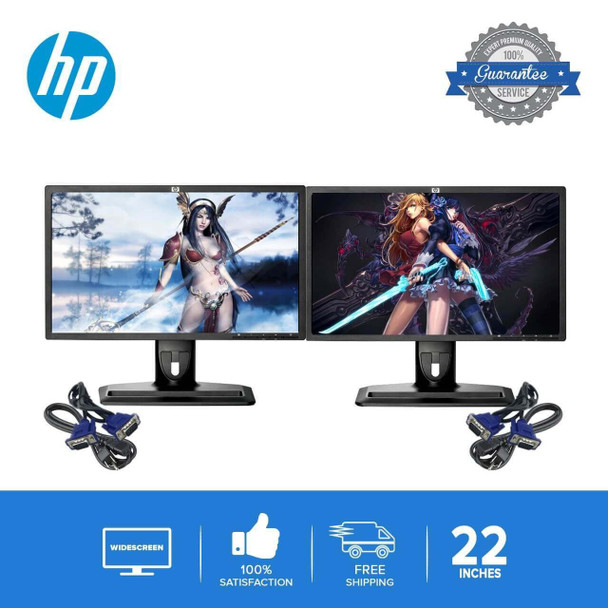 "Refurbished DUAL HP 22"" Widescreen LCD Flat Panel Monitor Screen"