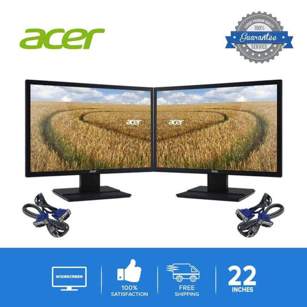 "ACER DUAL 22"" LCD FLAT PANEL REFURBISHED MONITOR SCREEN"